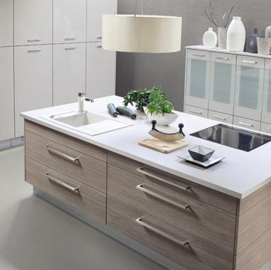 Contemporary-kitchen-in-gray-beige-drawers-cabinets-and-white-handing-lamps-and-cabinets